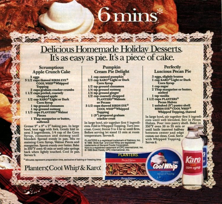 Apple crunch cake, Pumpkin cream pie, Pecan pie recipes 1985 (1)