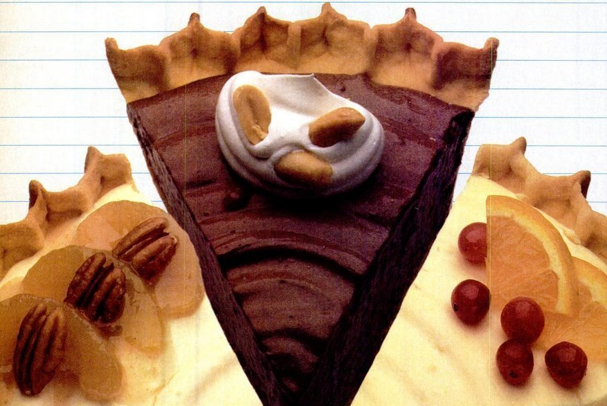 Apple crunch pie, Chocolate peanutty pie Cranberry ribbon pie recipes (1986)