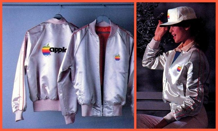 Apple retro satin jackets with rainbow logo from 1983