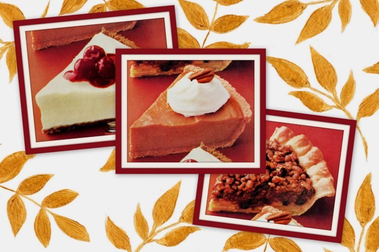 Apple streusel mince pie, no-bake pumpkin Frozen lemon cream pies retro recipes from the '80s