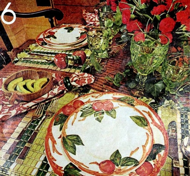 Apple twigs and ivy table settings from 1975