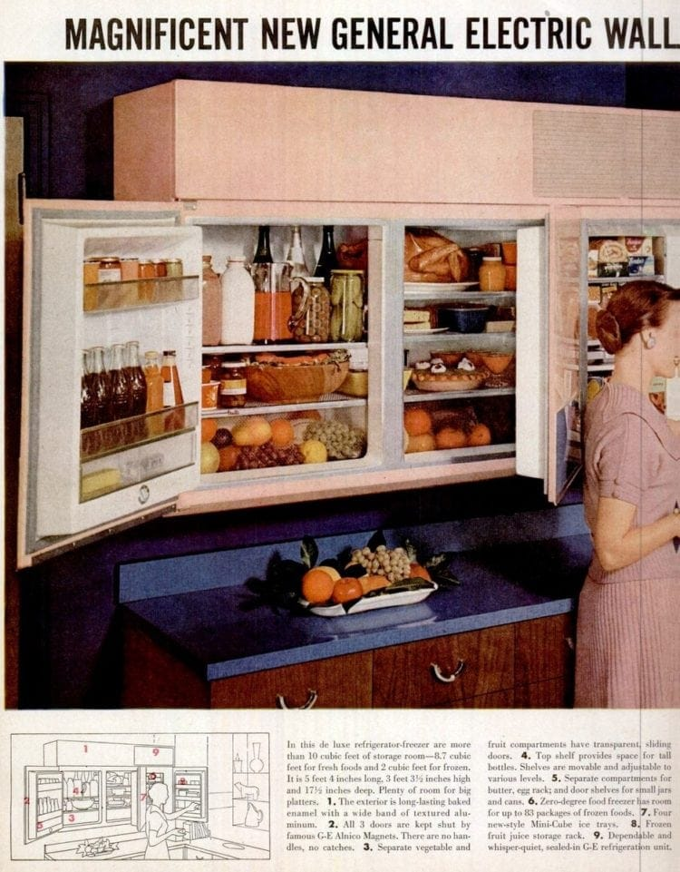 Pink vintage wall-mounted refrigerator
