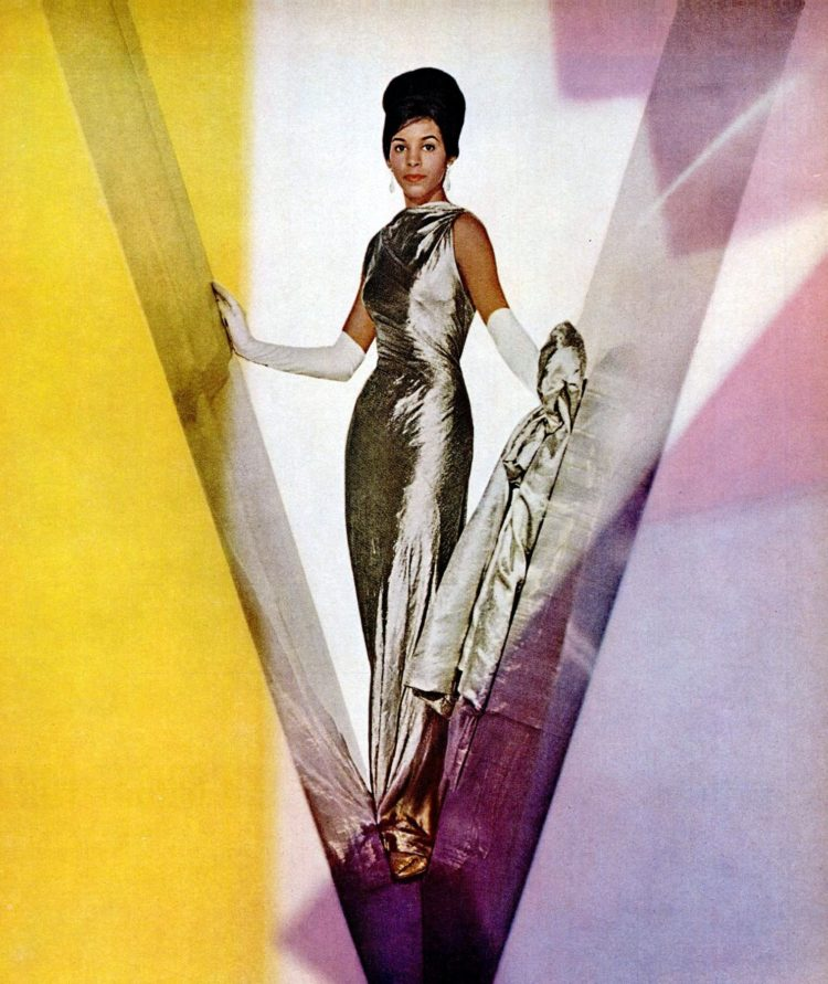 Apr 1962 Modess dresses silver lame woman fashion beauty