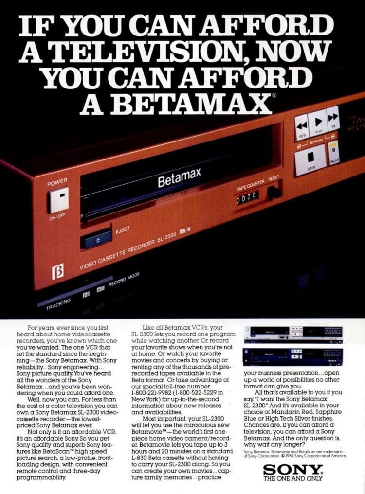 Apr 1984 Sony Betamax VCR