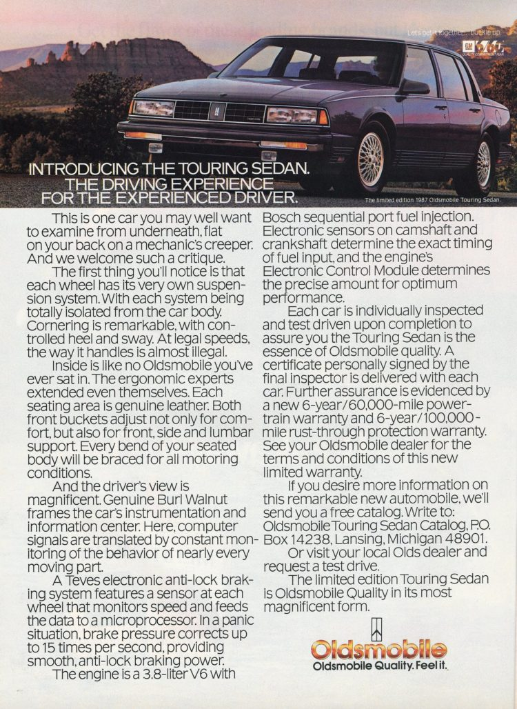 April 1987 Oldsmobile Touring Sedan vintage car from the 80s