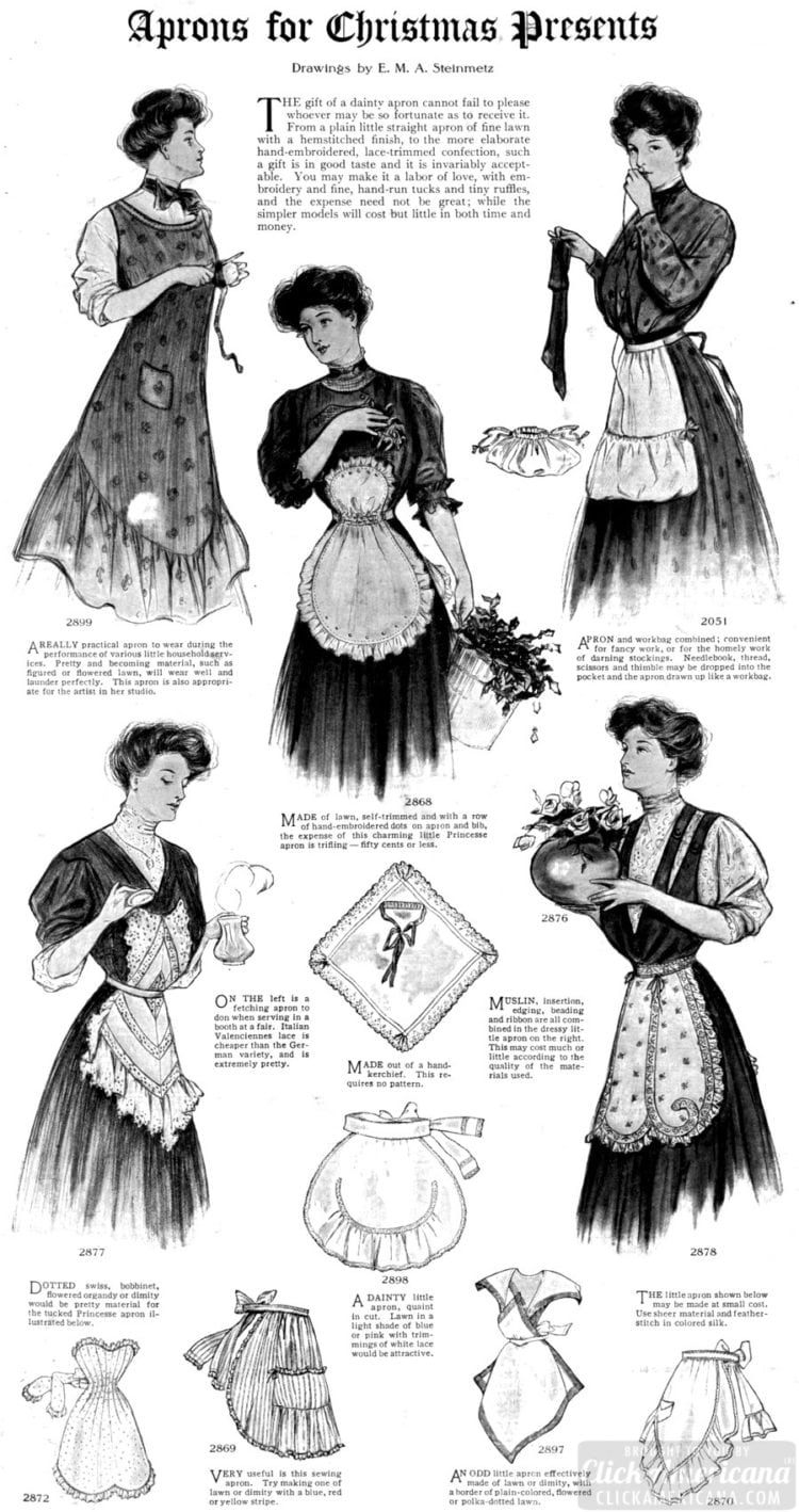 Aprons for Christmas presents 1906