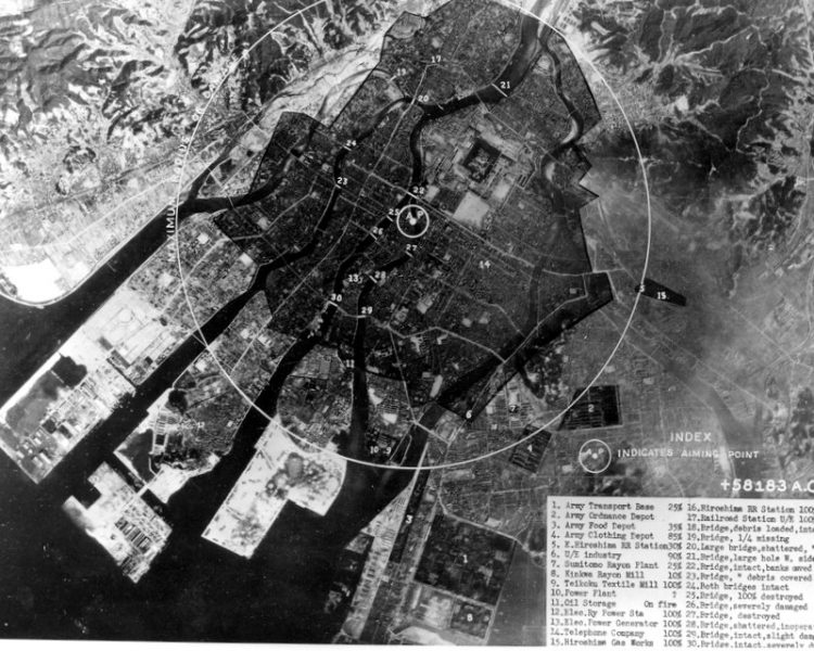 Area of devastation by the atomic bombing of Hiroshima, Japan 1945