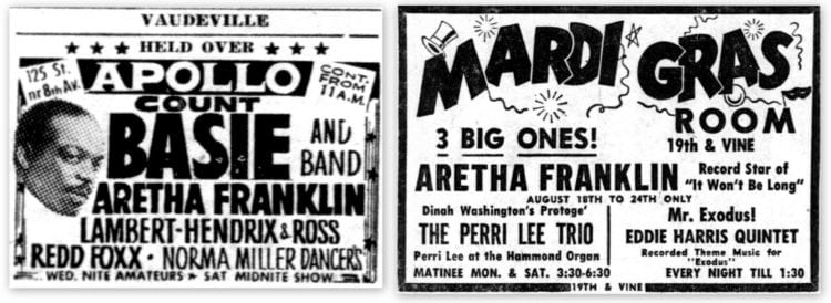 Aretha Franklin concerts from 1961