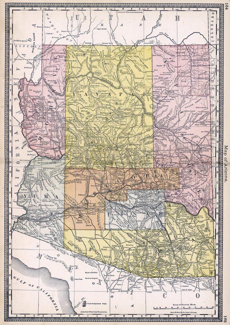 Arizona 1881 - Antique map