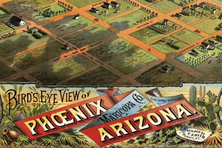 A Phoenix, Arizona birds-eye map view from of the city from 1885