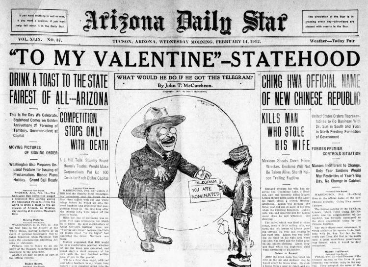 Arizona becomes a state - Feb 14 1912 - Newspaper front page headlines