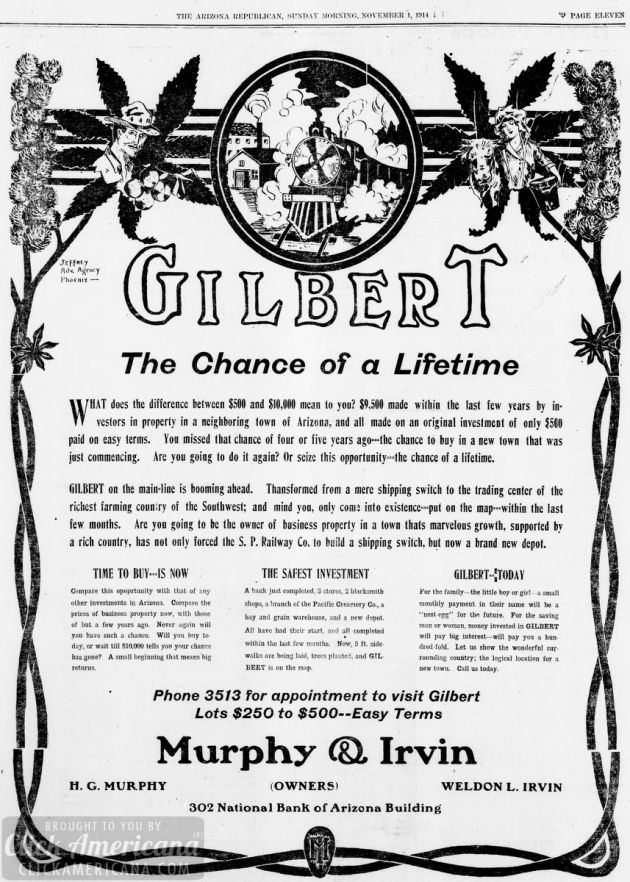 About Gilbert, Arizona in 1914