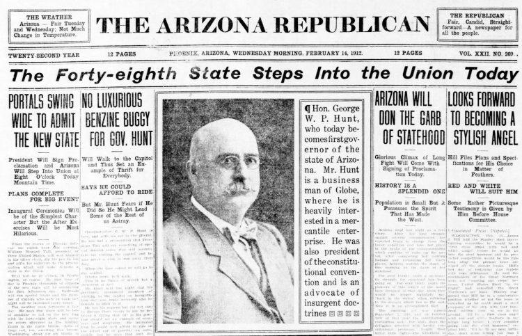 Arizona statehood - Feb 14 1912 - Newspaper front page headlines