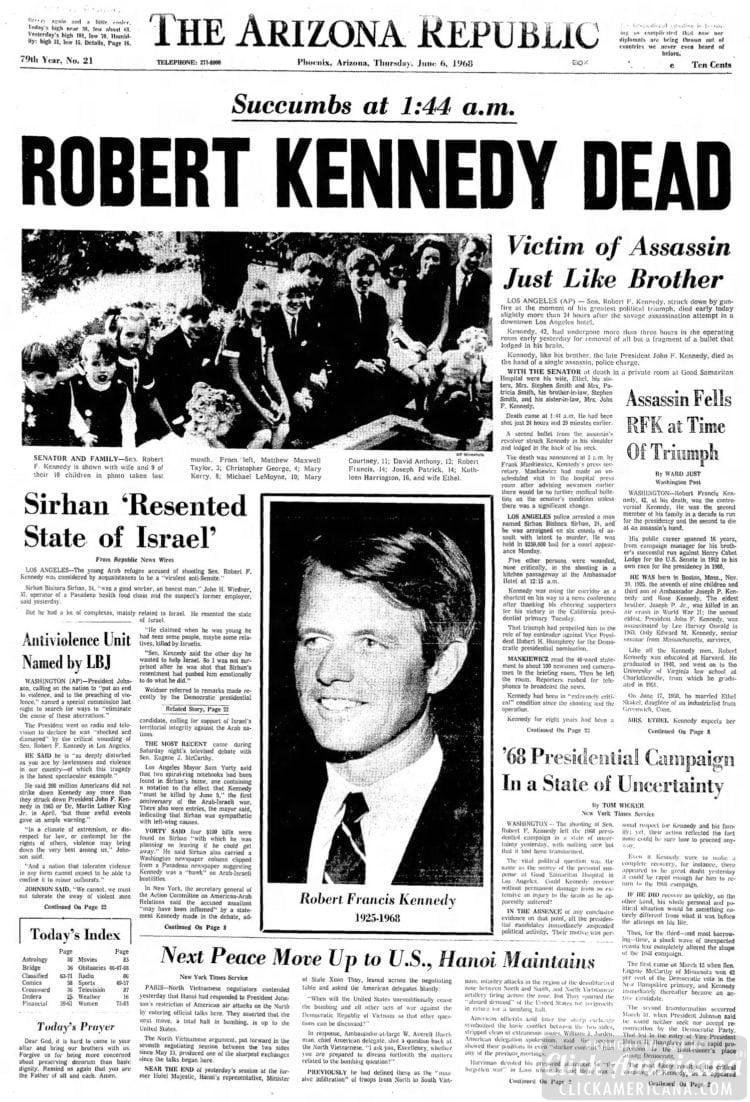Arizona_Republic RFK killed - June 6 1968