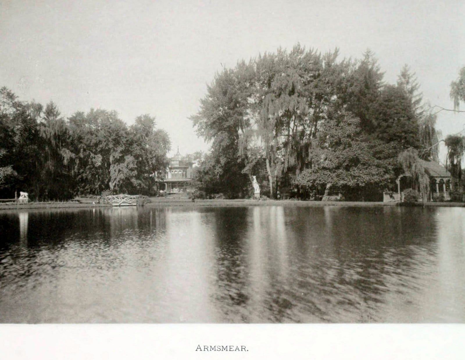 Armsmear mansion as seen across the garden and lake