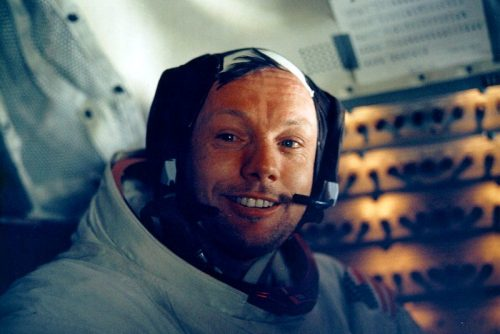 Armstrong in LM after historic moonwalk