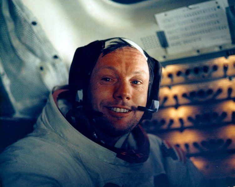 Neil Armstrong back in the LM after the historic moonwalk