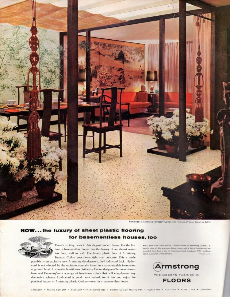 Armstrong sheet plastic flooring from 1950 - Dining room and hallway