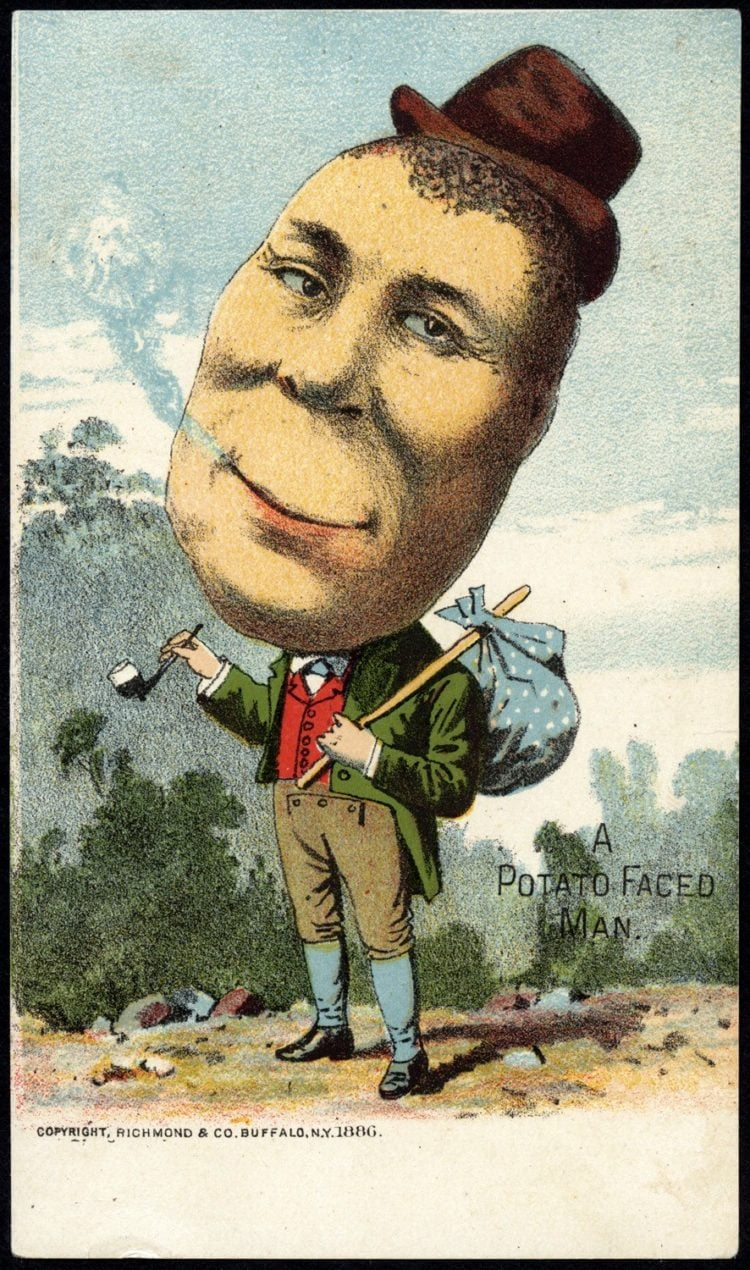 Trade cards with people as vegetables from the 1800s - Man with a potato head