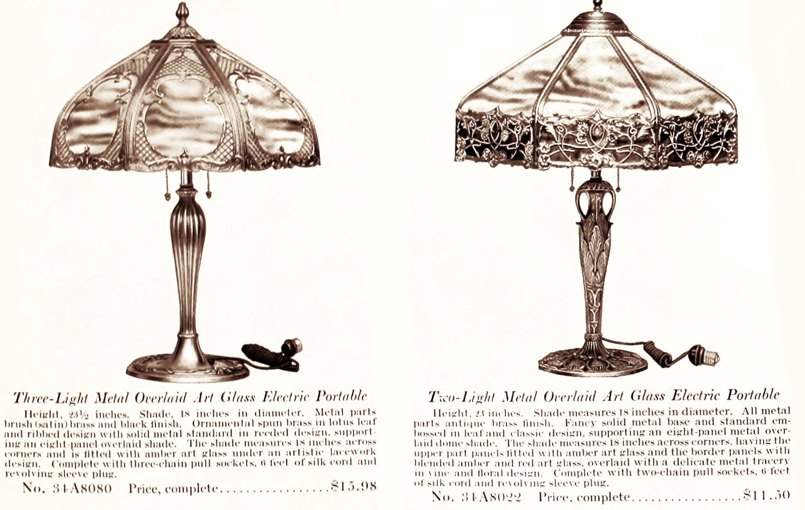 Art glass electric portable table lamps (early 1900s)
