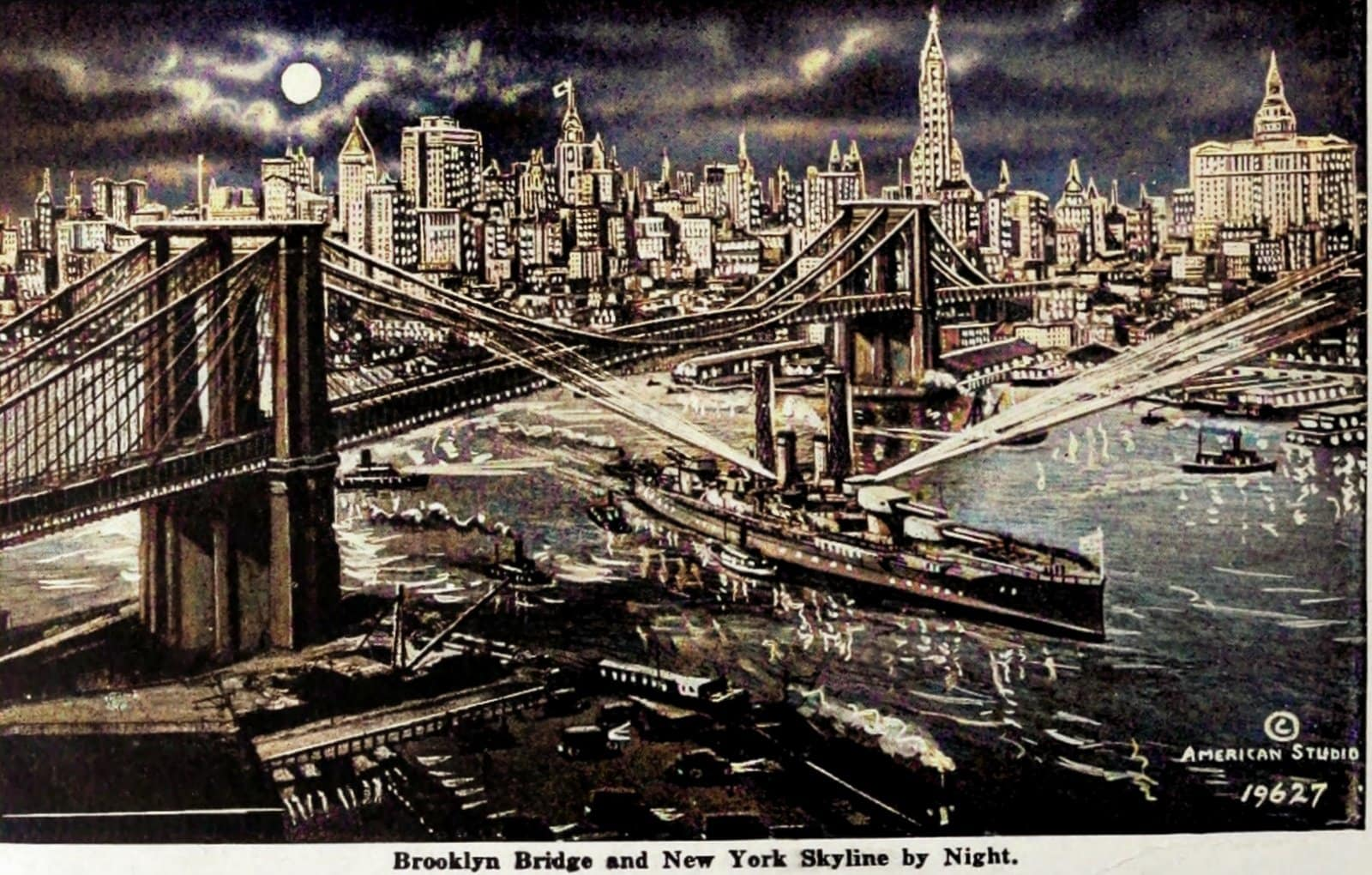 Art of Brooklyn Bridge and New York skyline at night - Colorized (1920s)