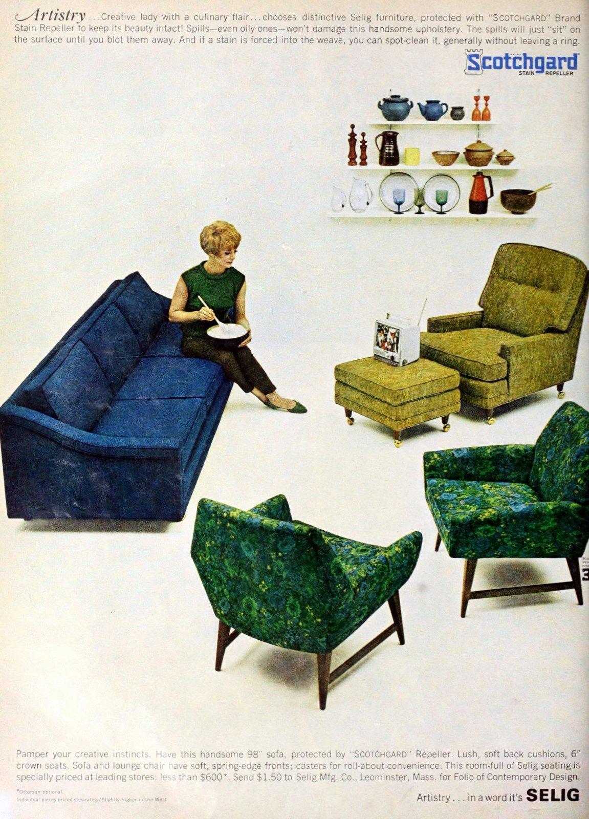 Artistic Selig upholstered mod 60s living room furniture styles (1966)