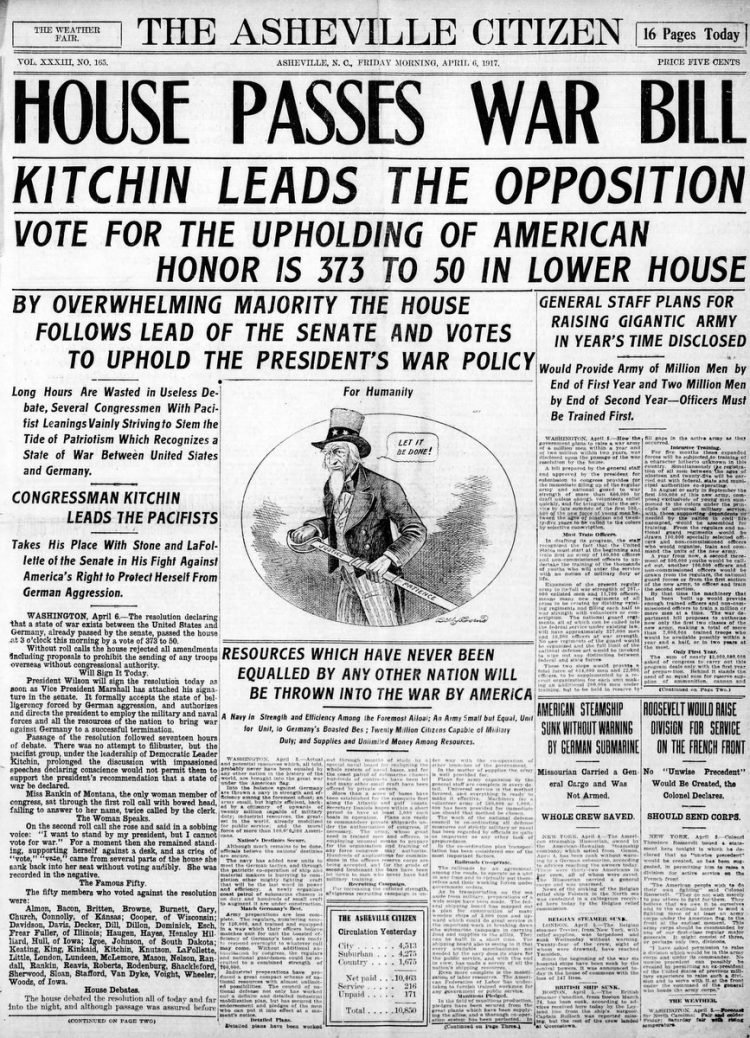 Asheville Citizen Times newspaper front page - US in World War I - April 1917
