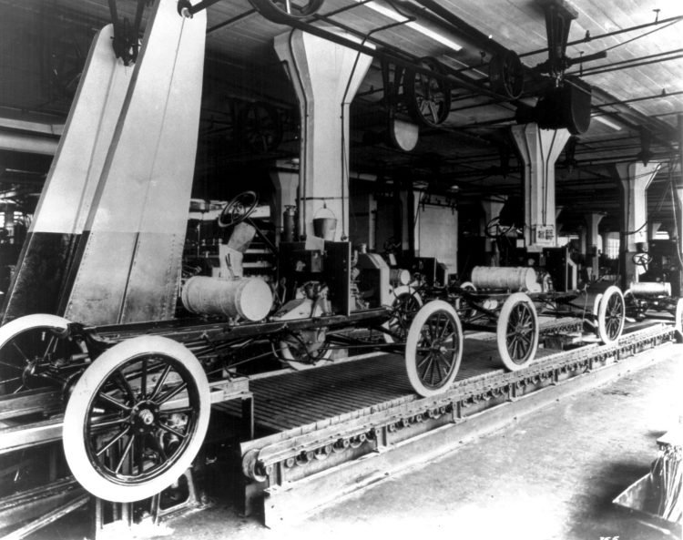 Assembly line at the Ford Motor Company's Highland Park plant 1913