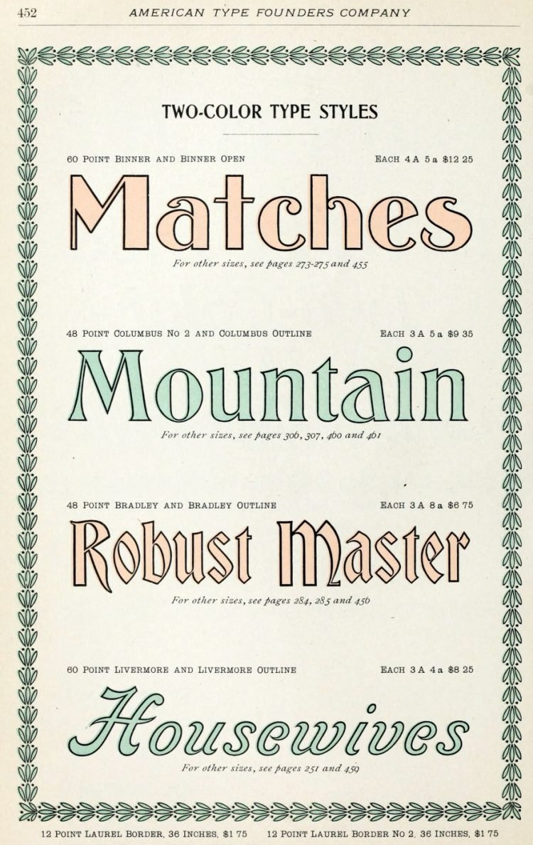 Assorted antique two-color typefaces