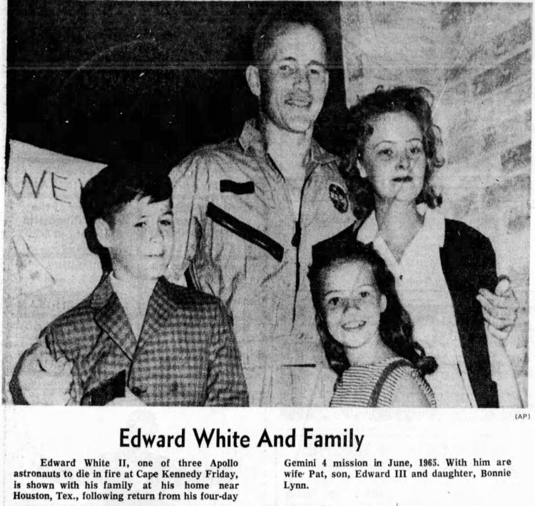 Astronaut Edward White and family
