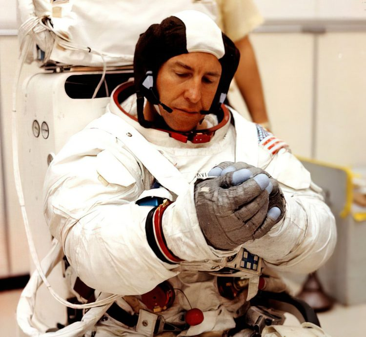 Astronaut Jim Lovell suits up for an extravehicular activity simulation for the Apollo 13 mission-gigapixel-width-1200px