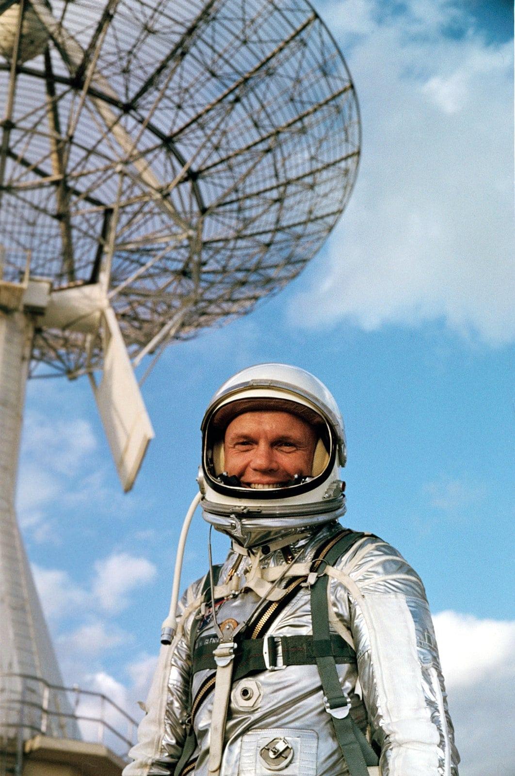 Astronaut John H. Glenn Jr., wearing a Mercury pressure suit (1962)