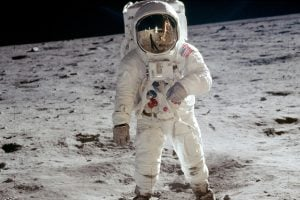 Astronaut Neil Armstrong took this photo of Aldrin. Armstrong can be seen in the reflection of Aldrin's helmet visor
