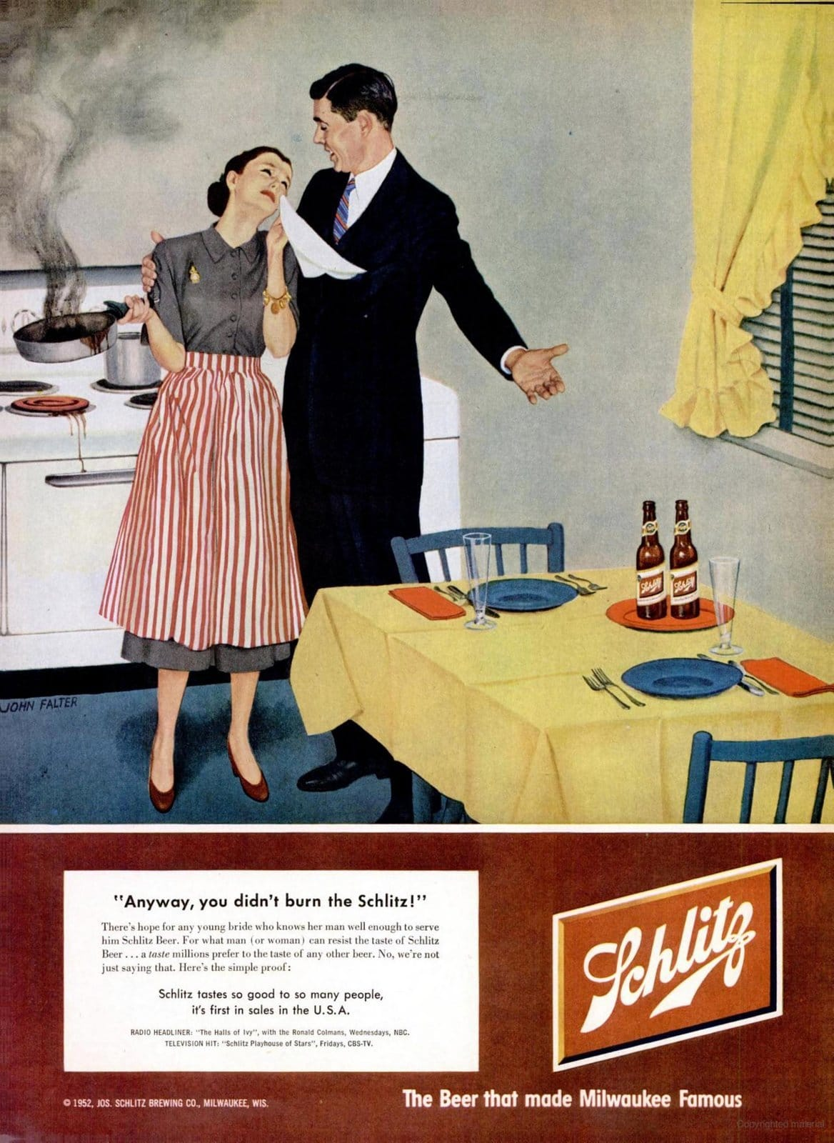 At least you didn't burn the beer - Classic 1950s ad