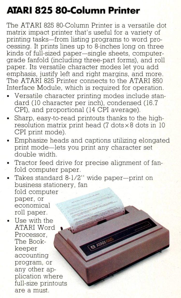 Atari 825 80-column printer (1982)