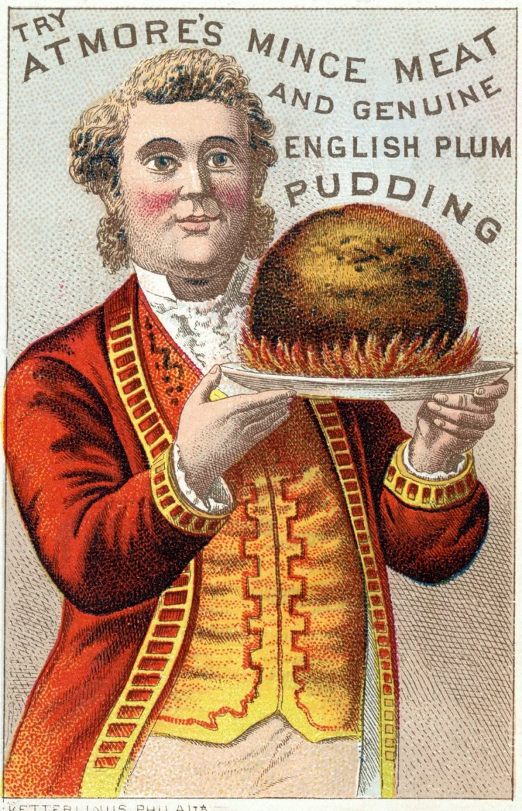 Atmore's mince meat and genuine English plum pudding - Victorian postcard