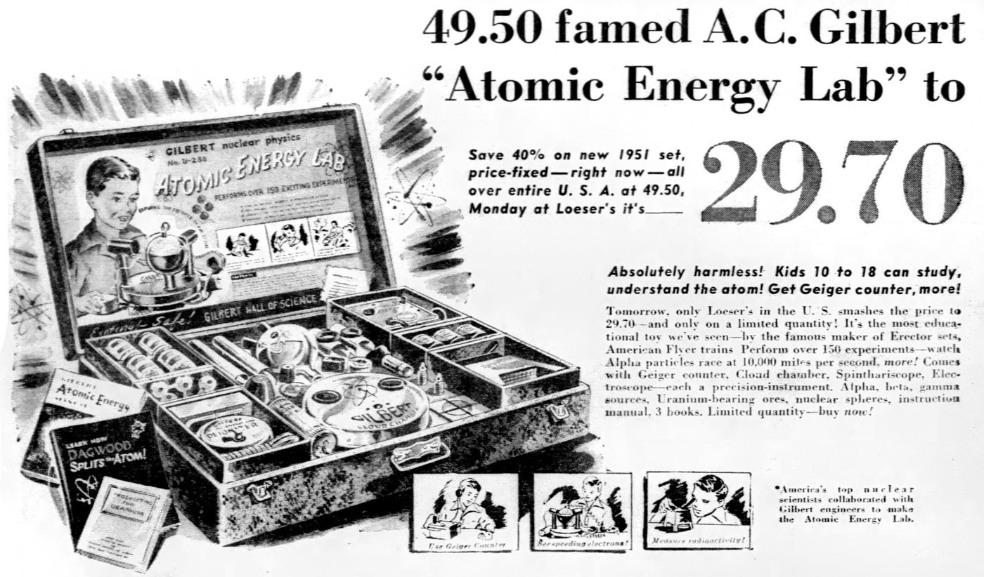 Atomic Energy science kit ad - for kids from 1950