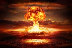 Atomic bomb explosion digital illustration
