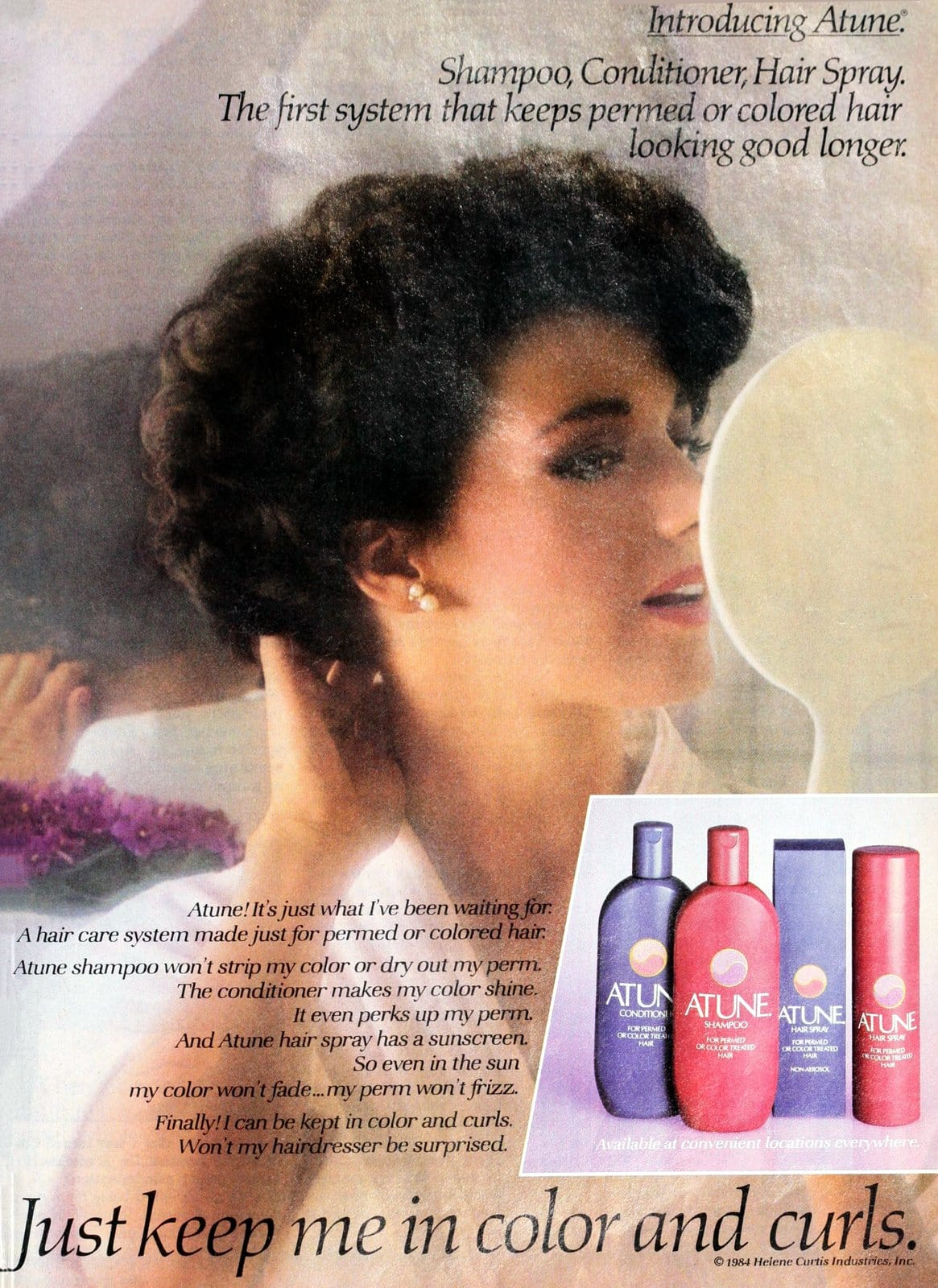 Atune shampoo and haircare from Helene Curtis (1985)