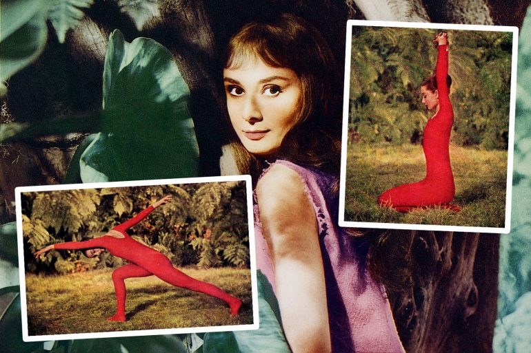 Audrey Hepburn shows you her favorite animal-inspired yoga-like poses (1959)