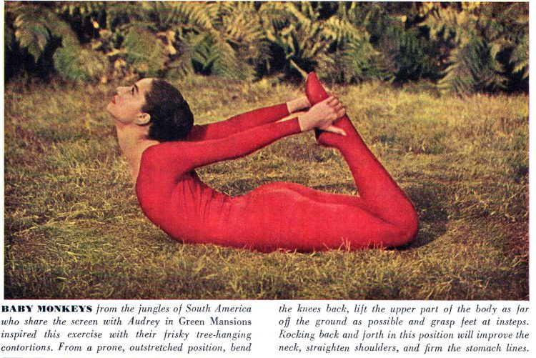 Audrey Hepubrn does yoga in 1959 - Baby Monkeys pose