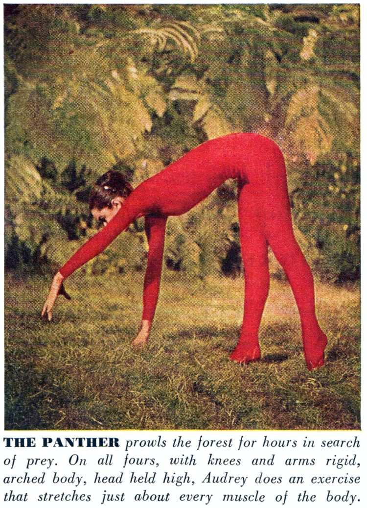 Audrey Hepubrn does yoga in 1959 - The Panther pose