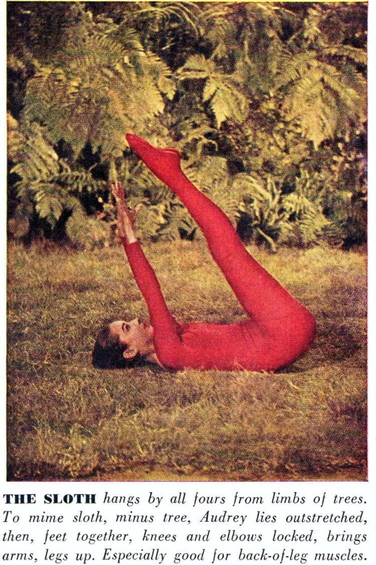 Audrey Hepubrn does yoga in 1959 - The Sloth pose