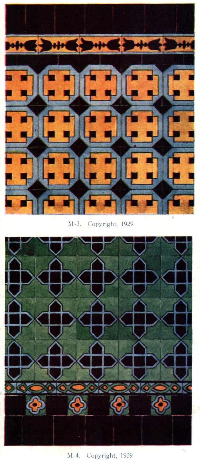 Authentic 20s tile designs and patterns from the home from 1929 at Click Americana (1)