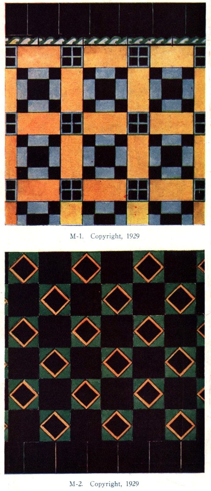 Authentic 20s tile designs and patterns from the home from 1929 at Click Americana (10)