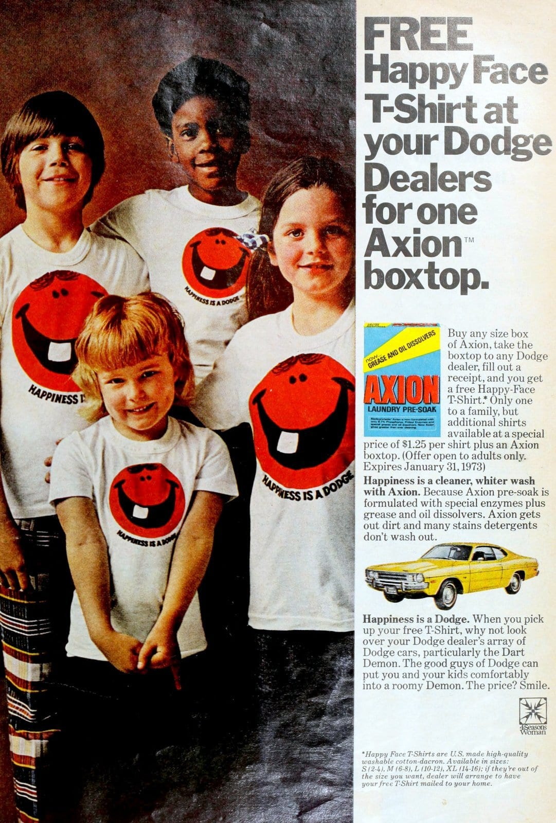 Axion laundry detergent happy face T-shirt offer with Dodge Cars (1972)