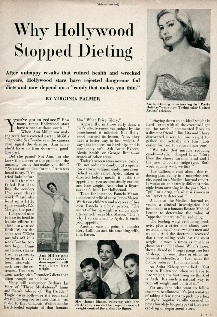 Ayds 1958 - Why Hollywood stopped dieting - weight loss