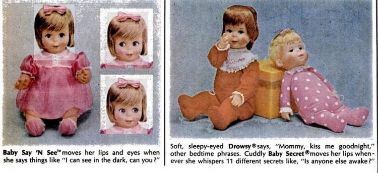 Baby Say N See Drowsy Baby Secret dolls - Mattel toys from 1967