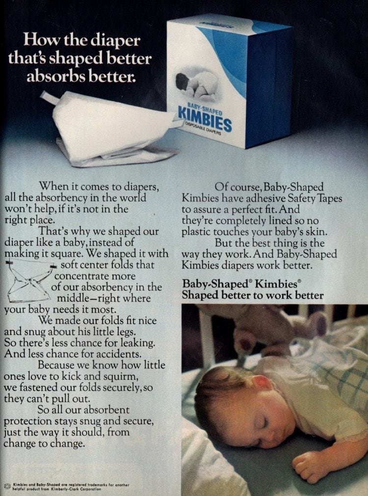 Baby-Shaped Kimbies disposable diapers (1974)