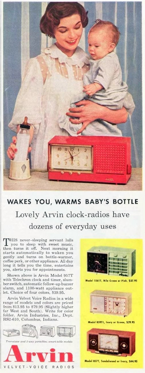 Baby bottle warmer and alarm clock combo from 1956